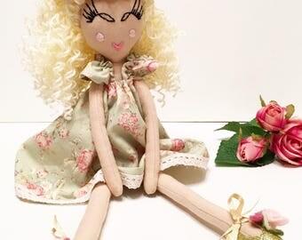 Heirloom Doll, Curly hair doll, Fabric Doll, Rag Doll, Cloth Doll, Flower Girl Doll, Ooak Doll