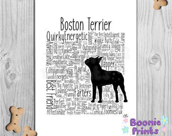 "Boston Terrier Print Art Work Typography On A4 Top Quality Card 10""x8"""