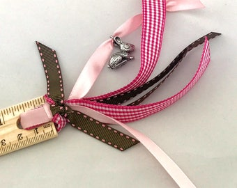 Ribbon Planner Ruler Pink Bunny Rabbit Back To School Pink and Brown Girly Home Office School Supplies Ready to Ship Badass Girls Organize