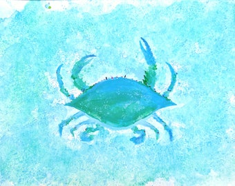 Watercolor Blue Crab Painting, Nautical Decor, Blue Crab Decor, Beach Decor, Watercolor Crab, Acrylic Painting, Unique Gift Idea
