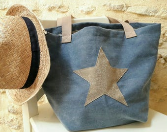 Blue jean tote bag with gold star