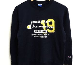 RARE!!!! Champion Rochester Big Logo SpellOut Crew Neck Dark Blue Colour Sweatshirts Hip Hop Swag S (160) Size
