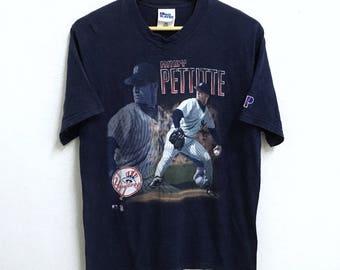 RARE!!! New York Yankees Baseball Club Andy Pettitte Players By Pro Player Big Logo Crew Neck Dark Blue Colour T-Shirts M Size