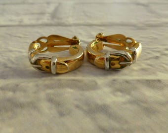 Vintage Clip On Belt Buckle Earrings in Gold and Silver Tone