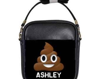 Women Handbag cross body leather purse personalized Bag sling bag emojis poop bag