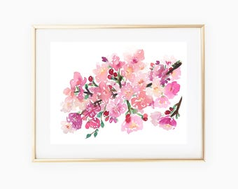 Cherry blossoms watercolor print, cherry blossoms floral art print, 8x10 watercolor print, watercolor flowers, pink floral print