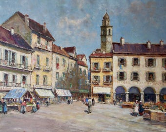 European street scene, Dennis Ainsley (1880-1952)