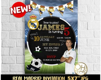 REAL MADRID INVITATION,real madrid party,real madrid birthday,real madrid printable,real madrid birthday invitation,,real madrid invite