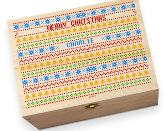 Merry Christmas Festive Personalised Large Traditional Printed Christmas Eve Box