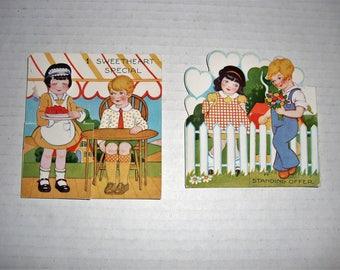 7)  Two Vintage Valentine Cards.  1930s.