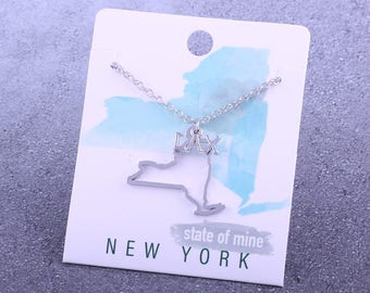 Customizable! State of Mine: New York LAX Silver Lacrosse Necklace - Great Lacrosse Gift!