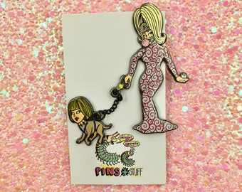 Mars Attacks dog walking pin
