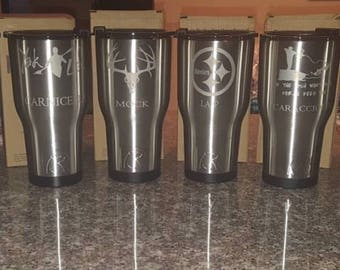 30oz personalized Rtic| Customized Stainless Steel Cup | Black/Color Print Personalized RTIC Tumbler | Similar to Yeti