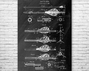 Archery Arrow Poster Patent Print Gift FREE SHIPPING, Archery Poster, Archery Wall Art, Arrow Art, Arrow Patent, Arrow Design, Archery Gift