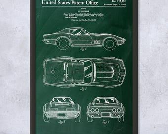 Framed Corvette Mako Shark II Patent Art Print Gift,