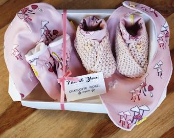 Baby Shower Gifts Pink Magical Mushroom Print Baby Gift Set Organic Cotton