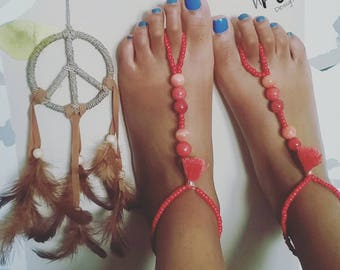 Red Kisses Barefoot Sandals.