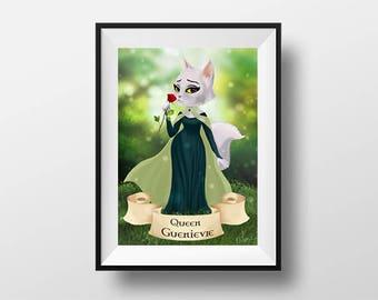 Queen Guenièvre poster - Digital Illustration printed on A4 photo paper