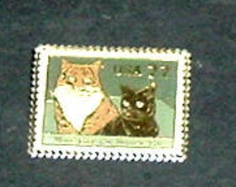CAT PIN BACK (B) - Of Cats On Stamps