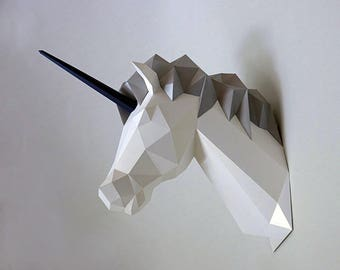 Be The Unicorn!! Low poly statues PDF for Paper craft. Make your own with this simple Wall decor