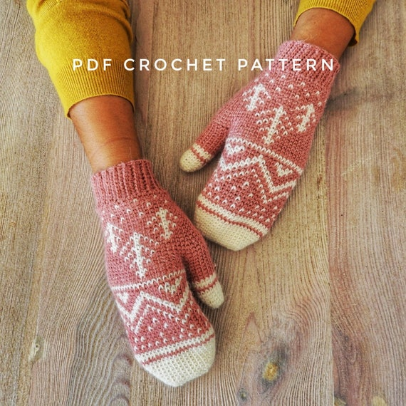 Winter Mountain Mittens Crochet Pattern