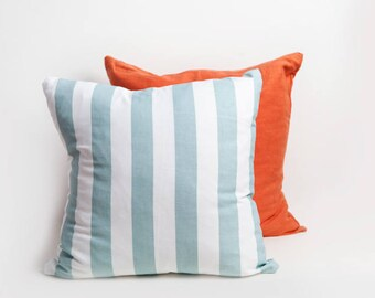 Aqua Striped Pillow Cover, Aqua, Striped Pillow Cover, Cotton Pillow, Aqua Pillow, Baby Room Decor, Baby Boy Decor, Stripe Pillow