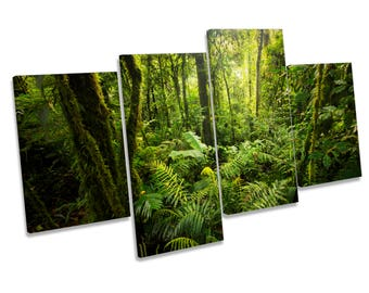 Forest Landscape Green Trees CANVAS WALL ART Four Panel Print
