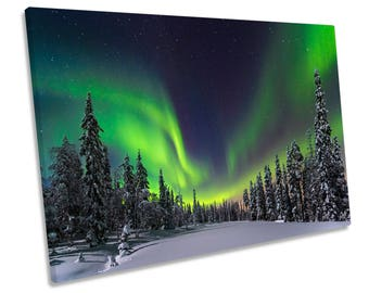 Northern Lights Green Forest Snow CANVAS WALL ART Framed Picture Print