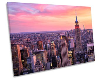 New York City Skyline Night CANVAS WALL ART Framed Picture Print