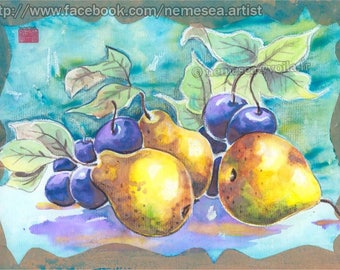 ORIGINAL still life Painting Pear Plum NM80 Fruit plum PEAR WATERCOLOR