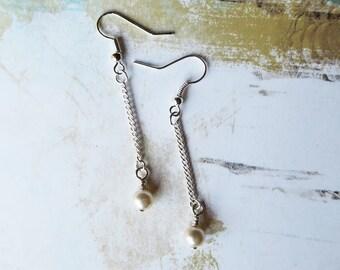 Pearl Earrings, Long Earrings, Silver Jewelry, Nickel Free, Nickel Free Earrings, Pearl Jewelry, Pearl, Minimalist Earrings, Bridal Jewelry