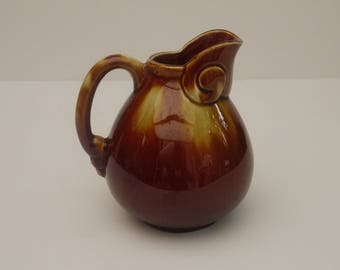 Ceramic glazed Zoomorph, original water or wine jug pitcher with handle Brown and yellow 1960 s