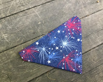 Sparkling Fireworks, Dog Bandana, Sparkles, America, Over the Collar, Red white and blue, 4th of July, Patriotic, Summer, LARGE