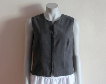 Women's Vest Gray Vest Grey Womens Vest Formal Waistcoat Fitted Vest Zip up Large Size