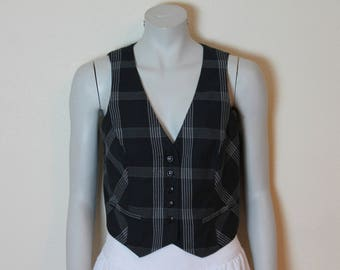 Women's Vests Black Vest Black Plaid Vest Plaid Women Vest Checkered Vest Womens Formal Waistcoat Steampunk Fitted Victorian Medium Size
