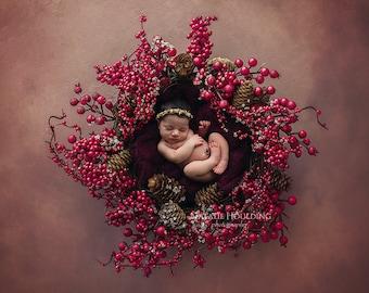 Newborn Digital Backdrop/ Prop / Photography / Flowers  (Very Berry)