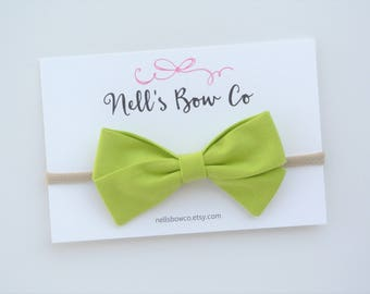 Lime Green - Baby, Toddler, Girls, Fabric, Hair Bow, Headband, Hair Clip, Hair Accessories, Folded Hair Bow, Baby Shower Gift