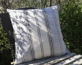 cushion mountain in beautiful Tarn cotton Plaid beige and blue