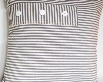 grey and beige striped cushion canvas 45 x 45