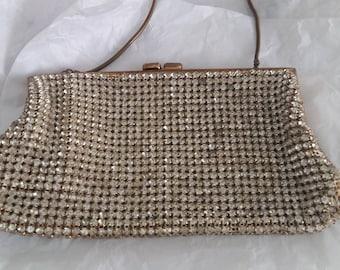 1940s prong set rhinestone bag