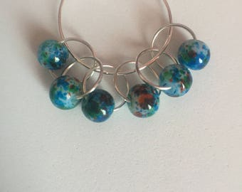 Blue marbled stitch markers