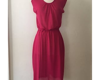 Vintage 70s 80s Womens Hot Pink Sundress Size Small