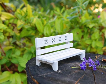 Miniature Fairy Garden Bench with Needle Felted Heart Cushions, Doll House Bench, Miniature Bench, Miniature Chair, Valentines gift
