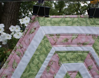 Pink and Green Quilted Table Topper