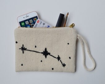 Astrology Constellation Pouch Bag Wool Clutch Zodiac Sign Bag Hand Embroidered Purse with Zipper Gift Bag Cosmetic Bag