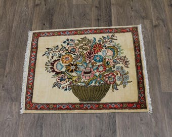 Beautiful Floral Handmade Unique Turkoman Persian Rug Oriental Area Carpet 2ʹ6X3