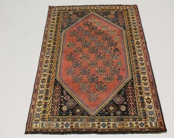 S Antique Tribal Handmade Shiraz Persian Wool Rug Oriental Area Carpet 5'4X8'6