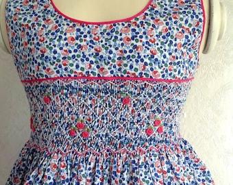 Blue red pink smock dress sleeveless LIBERTY