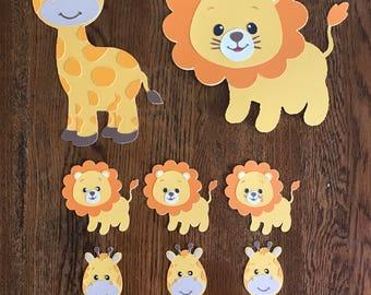 Die cut safari animals