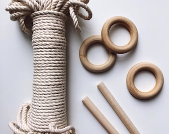 NATURAL cotton rope, 100 ft/30.5 m three strand twisted cotton rope, cotton rope